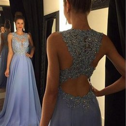 Wholesale Blue Prom Dresses For Teens - Prom Dresses 2017 Lavender Appliques Rhinestone Sheer Neck Sleeveless Chiffon A Line Evening Gowns Teen Modest Sale Party Dress For Women