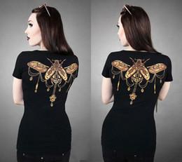 Canada T-shirt à manches courtes pour femmes Black Summer Neck, col en V STEAMPUNK BEETLE Pinte sur la blouse à l'arrière Offre