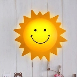 Wholesale Cute Wall Switch - Kid Room Lights Cute Wall lamp cartoon smiley Sun Light children indoor lights decorative lamps bed lamp night light hot selling beautiful