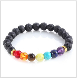 Wholesale Men Black Ceramic Bracelets - Fashion 7 Chakra Bracelet Power Energy Bracelet Men Women Fashion Rock Lava Stone Bracelet Top Seller Preferred