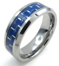 Wholesale Mens Wedding Ring Tungsten 13 - 8mm High Polish Tungsten Carbide Mens Ring Carbon Fiber Inaly Blue Silver US size 7 to 13 Drop Shipping