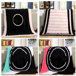 Wholesale Towel Boy Winters - Fashion Pink Letter Blanket Soft Coral Rug Beach Towel Blankets Air conditioning Rugs Comfortable Carpet 130*150cm