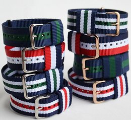 Wholesale Watch Band Silver Cheap - High quality watch bands 20MM Nylon band NATO watch strap colorful fashion watch strap NATO straps wholesale cheap gold silver buckle