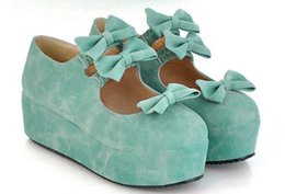 Wholesale Japanese Platforms Shoes - Soft shoes Japanese girl lolita lolita bowknot thick high-heeled platform for cosplay wet shoes
