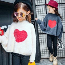 Wholesale Girls White Thick Sweater - 2017 Korean Sweater Girl Loose Big Round Neck Jumper Hedging Thick Bat Sleeve Pullover Thickening Kids Girl Large Size Vestidos LXJ145