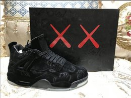 Wholesale Cheaper Basketball Shoes - Cheaper Kaws XX 4s Mens Basketball shoes Sneakers Black Suede 4 Trainer Come In Box Size 41-47