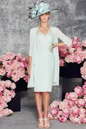 Wholesale Chiffon Vestidos Festa - 2016 Spring V Neck Vestidos de Festa Knee Length Chiffon Mother of the Bride Dress with Bolero 3 4 Sleeve Evening Gown