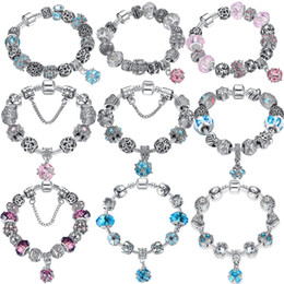 Wholesale Crystal Gifts For Women - BELAWANG 10 Styles Pink&Blue Crystal Charm Bracelets With Murano Glass Beads Bracelet for Women DIY 925 Silver Jewelry Making Gift 18-21cm