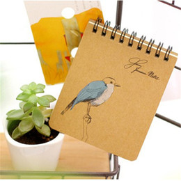 Wholesale Book Binders - Wholesale-Vintage Blue bird dream notebook Mini spiral book diary Portable notepad planner binder cuaderno Stationery School supplies
