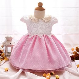 Wholesale Infant Baby Girl Party Outfits - Wholesale- Newborn Baby Girl Christening Gown Lace Princess 1st Birthday Outfits Infant Festival Party Dress Baptism Tutu Dresses for Girls