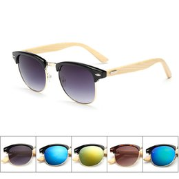 Wholesale Wholesale Trendy Fashion Frames - wood sunglasses Fashion Men's Ladies Square Bamboo Wood Bamboo Legs Sunglasses Trendy Wooden Glasses 5 selection for color