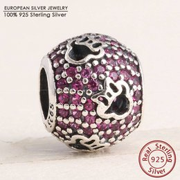 Wholesale Cartoon Minnie Mouse - Pave Red CZ Cut-out Animal Silhouettes Charms 925 Sterling Silver Cartoon Minnie Mouse Charm Bead Diy Charm Bracelets Fine Jewelry