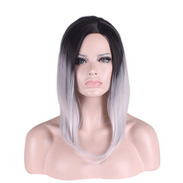 Wholesale Multi Color Cosplay Wigs - WoodFestival Multi-Color short hair wigs straight synthetic hair heat resistant fiber wigs cosplay black green purple grey ombre wig