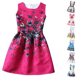 Wholesale Teenagers Girls Clothes - wholesale Kids Clothes Girls 2015 New Brand Designer Girl Princess Dress Flower Print Dresses For Girls Dobby Kids Party Wear Teenagers