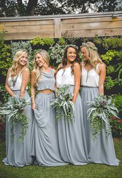 Wholesale Maxi Dresses Size 14 - Cheap Country Chiffon Grey maxi skirts and strap white tops Bridesmaid Dresses V-Neck Sleeveless Two Pieces Dresses for Bridesmaid Long