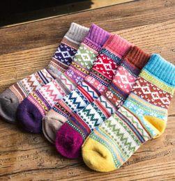 Wholesale Retro Rabbit - 10 pairs Wholesale Wool Socks Winter Women Warm Socks Fashion Colorful Thick Socks Ladies Girls Retro Rabbit Wool Casual Snowflake Sock 5 de