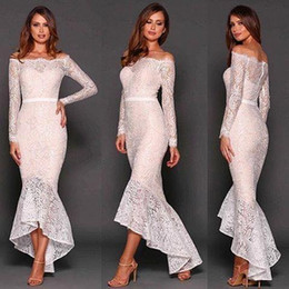 Wholesale Tea Length Occasion Dresses - New 2017 Arrival Mermaid Lace Prom Dresses Off The Shoulder Long Sleeves Tea Length Special Occasion Gowns Evening Dresses