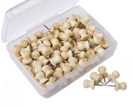 Wholesale Wood Cork Case - Wood Push Pins,Decorative Thumb Tacks Used on Cork Boards or Maps, Pack of 100 PCS (Natural)