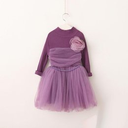 Wholesale Wool Baby Dress - Girls Flower Lace Dresses Autumn 2017 Baby Girls Knit Princess Dress Kids Girls Korean Party dress Baby Clothing