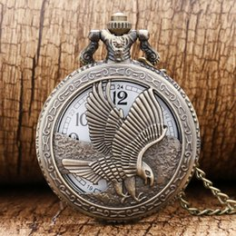 Wholesale Stainless Steel Eagle Necklace - Wholesale-2016 New Bronze Hollow Eagle Quartz Pocket Watch Pendant Necklace For Men Lady Women' Day Gift