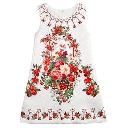 Wholesale Thick Cotton Dress - Retail 2016 Summer Girl Dress Key Floral Thick Cotton Dress Girl Fashion Sundress Children Clothing 3-10T 1606