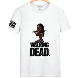 Wholesale Shorts Casual Walk Men S - The walking dead T shirt Michonne katana knife short sleeve gown Danai Gurira tees Leisure unisex clothing Quality cotton Tshirt