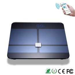 Wholesale bmi fat - Wholesale-Tempered Glass Platform Smart Weigh Body Fat BMI Weight Scale Digital Precision Scale Body Bathroom Scale