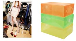 Wholesale Stackable Clear Storage Box - Fashion Multi-function Clear Foldable Strong Plastic Shoes box Storage Box Organizer Drawers Stackable Organizer free shipping