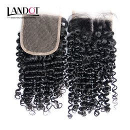 Wholesale Cheap Middle Part Lace Closure - Brazilian Peruvian Malaysian Indian Mongolian Curly Virgin Hair Lace Closure 4*4 Cheap Human Hair Deep Kinky Curly Closures Natural Black