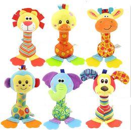 Wholesale Hand Puppet Dog Toy - New Baby toy stick Cartoon Animal lion duck elephant dog monkey giraffe Sound Toys Rattle Baby Hand Puppet Stick