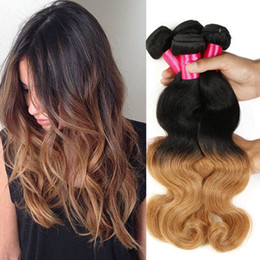 Wholesale Wet Wavy Ombre Weave - Wet And Wavy Virgin Brazilian Virgin Hair Ombre Body Wave 2 Tone Color 1B 27 Human Hair Extension Cheap Hair Bundles Brazilian Body Wave