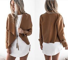 Wholesale ladies long black winter coat - Women Autumn Cardigan Jacket Women Long Sleeve Outerwear Coats 2018 Turn-down Collar Winter Casual Open Stitch lady Coats