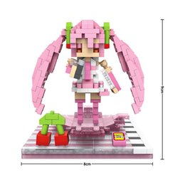 Wholesale Anime Figure Hatsune Miku - Building Blocks Anime Hatsune Miku Sakura Miku Series Kids Toys Figures Educational Toy for Children Gifts