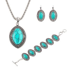 Wholesale Turquoise Women Suits - Hot big European and American retro luxury suite oval turquoise necklace bracelet earrings jewelry three-piece suit simple and elegant women