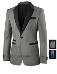 Wholesale Top Selling Mens Jackets - Wholesale- Top-Selling-New-Tailored-Light-Grey-Custom-Made-Grooms-Mens-3-Pieces-Man-Suits(Jacket+Pant+Tie)Fashion Terno Masculino Slim Fit