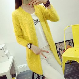Wholesale mohair knitwear - Wholesale- New Arrival Women's Sweater Fashion Candy Colors Mohair Thick Autumn Winter Sweaters Women Mid-Long Cardigans Knitwear ZY2232