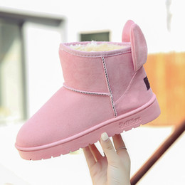 Wholesale Short Suede Flat Boots - 2017 new winter shoes with thickened cashmere rabbit ears short canister boots all-match students warm shoes