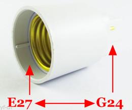 Wholesale G24 Halogen Lamps - 100pcs G24 Male to E27 Female Socket Base LED Halogen CFL Light Bulb Lamp Adapter