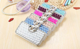 Wholesale Crystal Bowknot Iphone - Luxury Bling Bowknot Crystal Diamond Wallet Bling Pearl Diamond Credit Card Holder Flip Case For iPhone 8 7 plus 6S PLUS 5S Samsung S8 PLUS