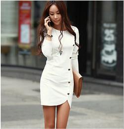 Wholesale Long Sleeved Dress Korean - Free Shipping Wholesale 2016 Hot Korean version of the new spring long-sleeved dress package hip skirt
