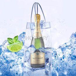 Wholesale Plastic Cooler Bag - Durable Clear Transparent PVC Champagne Wine Ice Bag Pouch Cooler Bag with Handle #4114