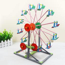 Wholesale Toy Wooden Ferris Wheel - 1 Set Educational children's DIY 3D Ferris Wheel Wooden Jigsaw Puzzles Model buildings Handicraft baby kids Creative Toys Gifts
