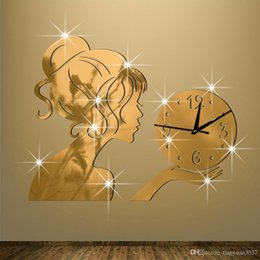 2019 большие желтые часы 2016 новый настенные часы horloge часы гостиная кварцевые иглы акриловые украшения дома 3d diy зеркало наклейки бесплатная доставка TY2001