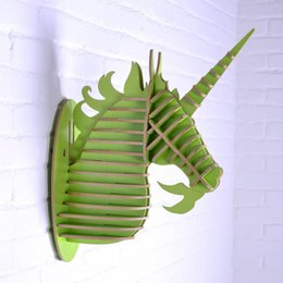 Wholesale Hanging Wall Carving - 3D Unicorn head home decor,wooden art,wood craft,carved wall hanging,living room wall decoration,MDF interior decor deocraions