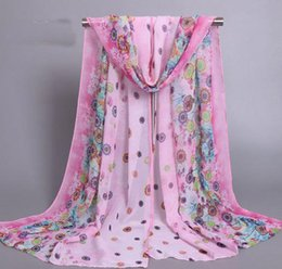 Wholesale Mixed Winter Scarves - Mix color New Brand Design Women Chiffon Scarf Winter Fashion Printed Wrap Small Floral Pattern XQ 223