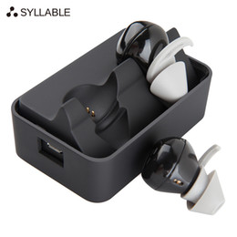Wholesale Original Syllable D900 Wireless Bluetooth4 Heaphones In ear Mini Headsets Stereo Sports Active Noise Cancelling Earbuds Charging Station