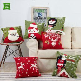 Wholesale Cushion Cover Embroidery Patterns - Creative Soft Crewel Style Colorful Christmas Pattern Embroidery Cushion Cover High Quality Home Decor Pillow Case