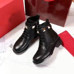 Wholesale Sexy Black Ankle Boots - Sexy Fashion Women Rivet Martin Square Heels Ankle Boots Design Casual Shoes Cowskin Boots Black Round Toes Free Shipping