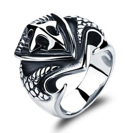 Wholesale Stone Rings Designs Men - Gothic Man Rings Punk Style Stainless Steel Personality Men Jewelry Finger Bands Fashion Cross Design GJ464