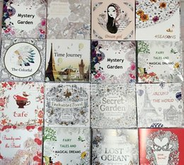 Wholesale Wholesale Drawing Paper - 2016 Adult Coloring books 12 Pages 24 Faces 25*25cm Drawing Books Coloring Books 16 kinds of coloring painting books DHL Fedex Free